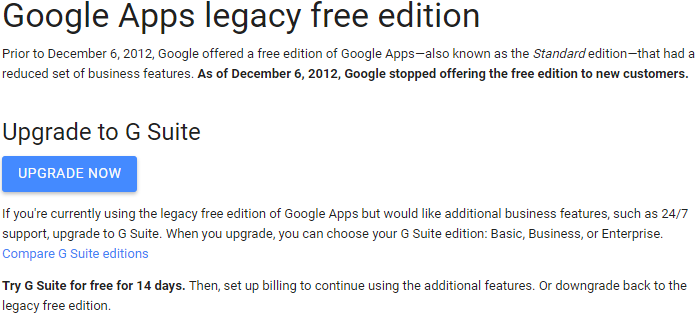 Google Apps stopped offering free edition to new customers