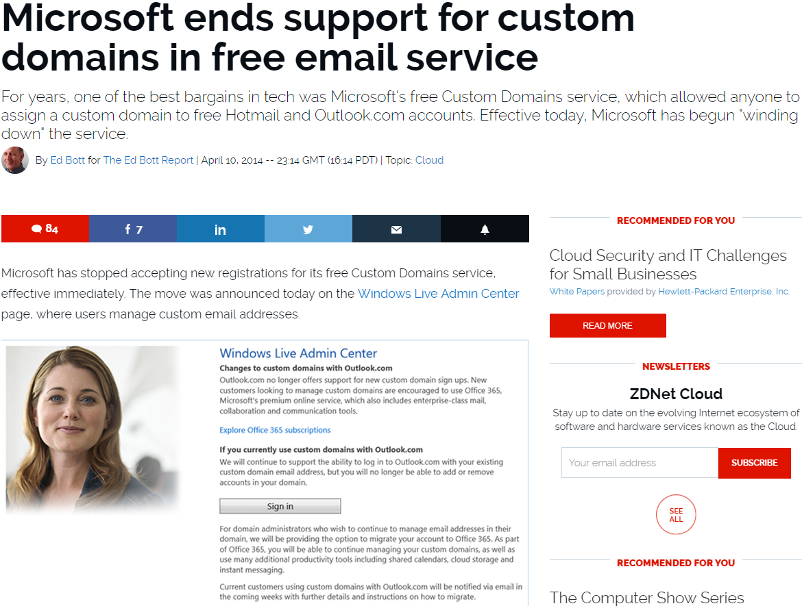Microsoft ends support for custom domains in free email service